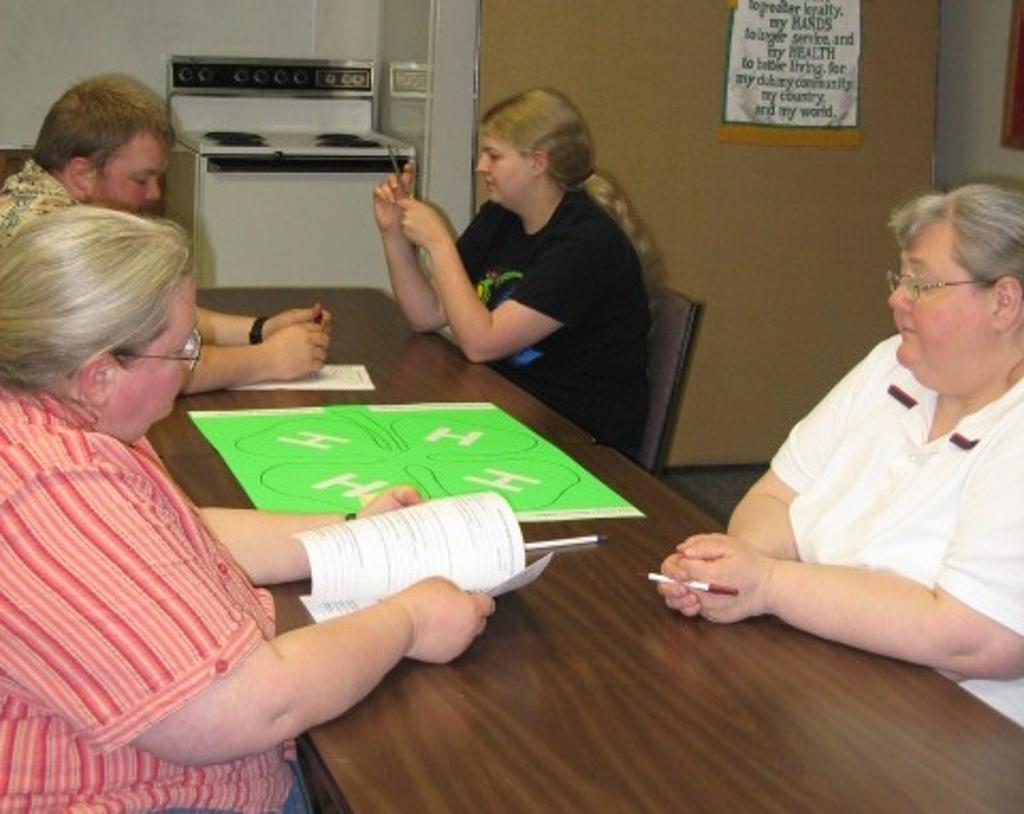 The Pioneers 4-H volunteers work on club planning activity