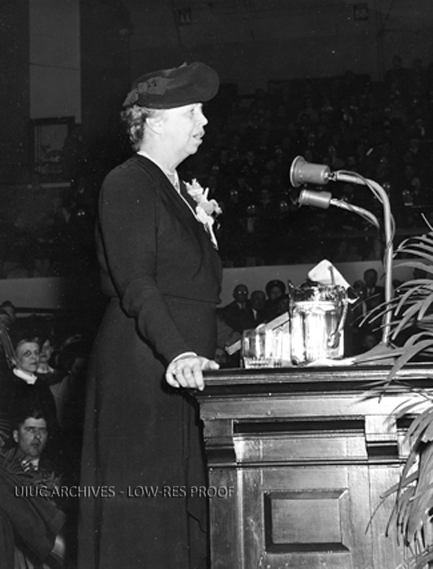 Eleanor Roosevelt speaks during Farm ad Home week at the University of Illinois