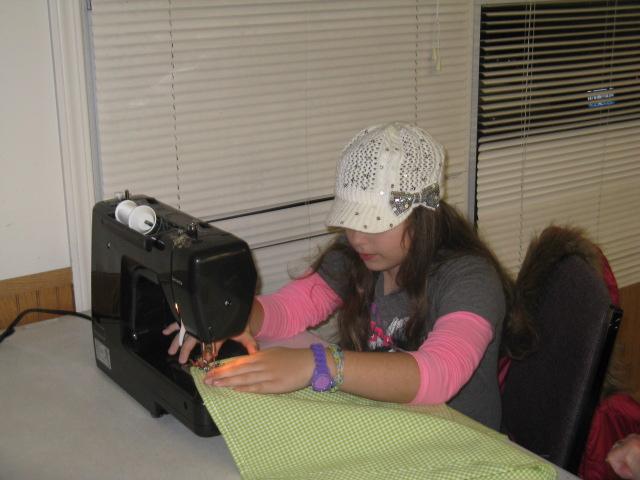 Rachel sews in Week 2