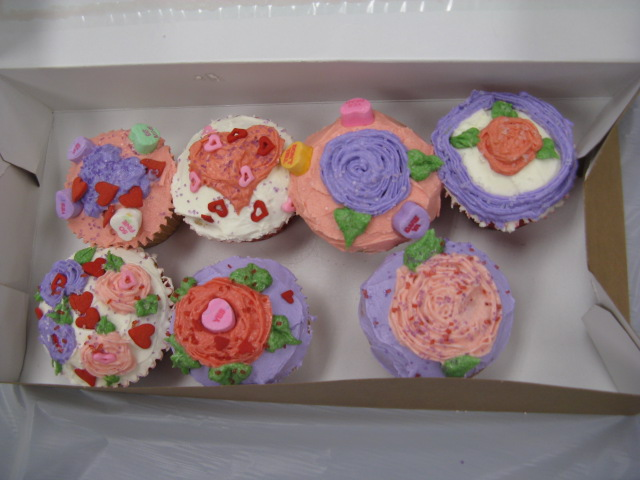 A completed box of cupcakes