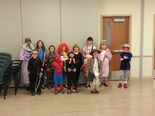 4-H members from Brown/Schuyler County show off their costumes at their Achievement/Halloween Party.