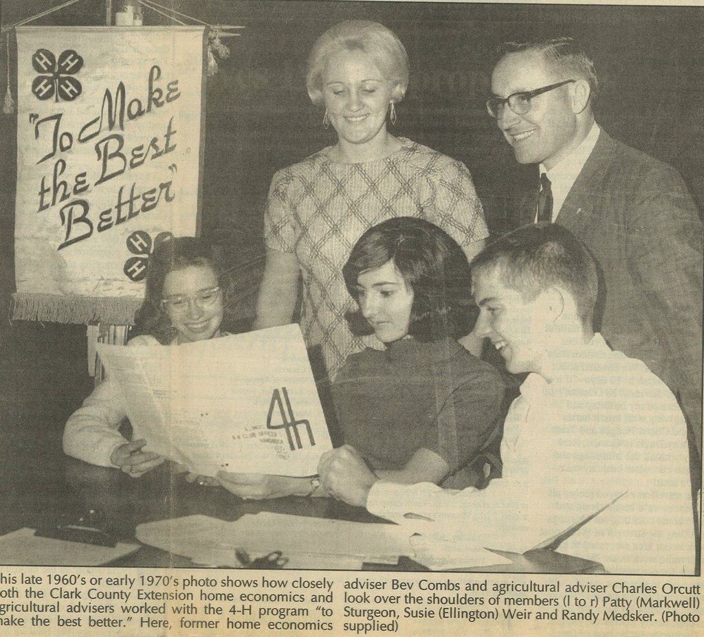 Pictured are Bev Combs, Charles Orcutt, Patty Markwell, Susie Ellington & Randy Medsker-late 1960's.