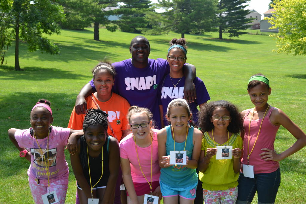 Look at all of these great smiles!  SNAP Junior Leaders and Camp Connection Kids learn and have fun