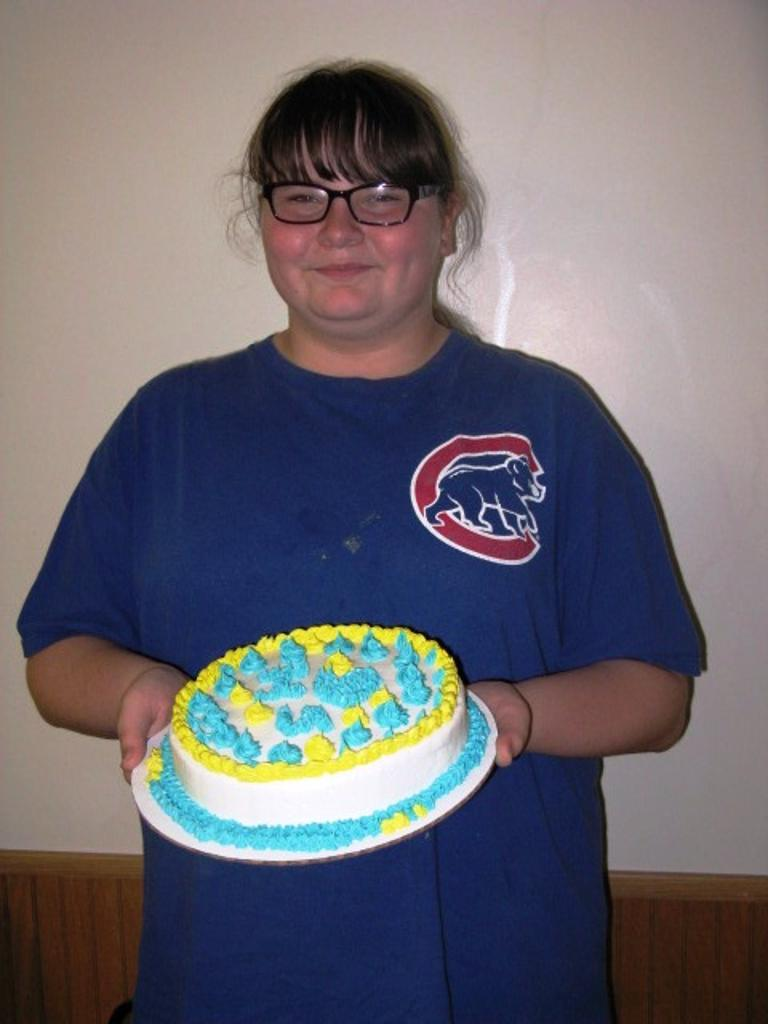 Ashley and her cake