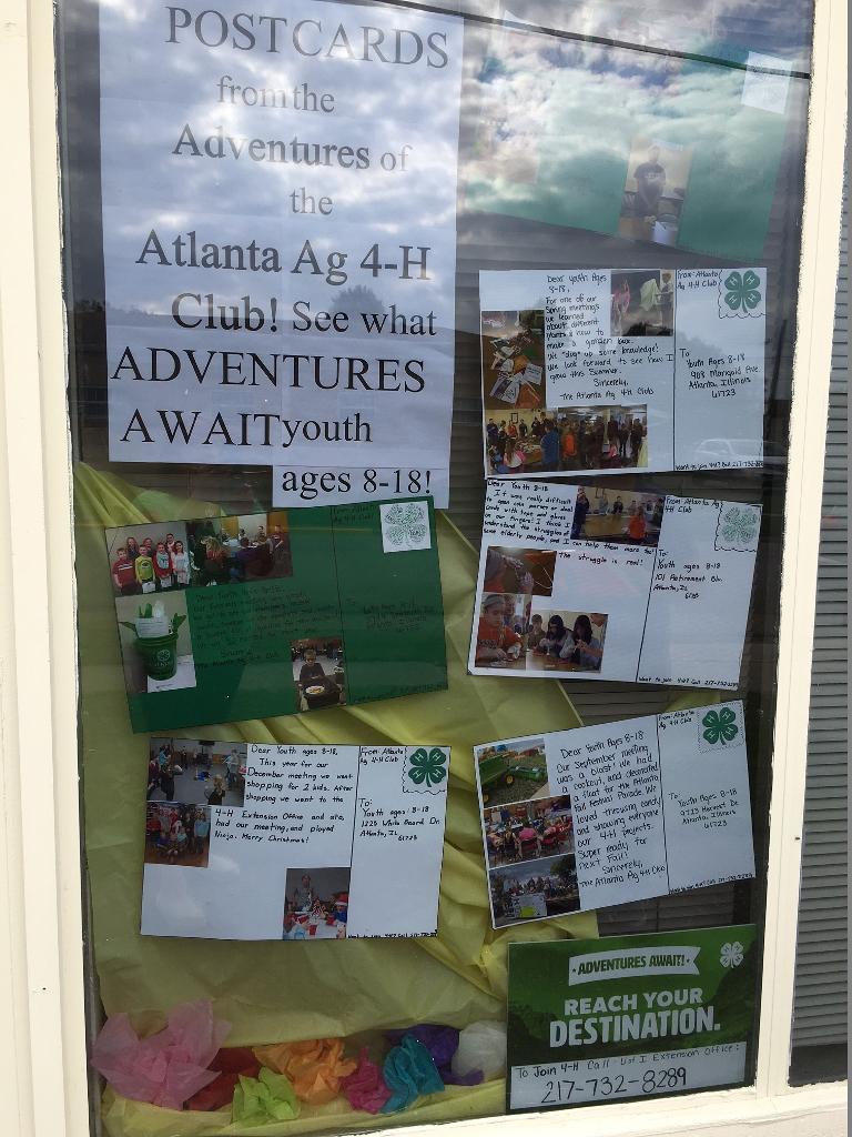 "Atlanta Ag used a ""postcard"" theme in their window"