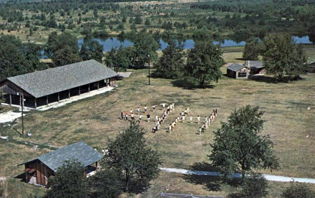 Aerial photo of the new camp with campers spelling out 4H.
