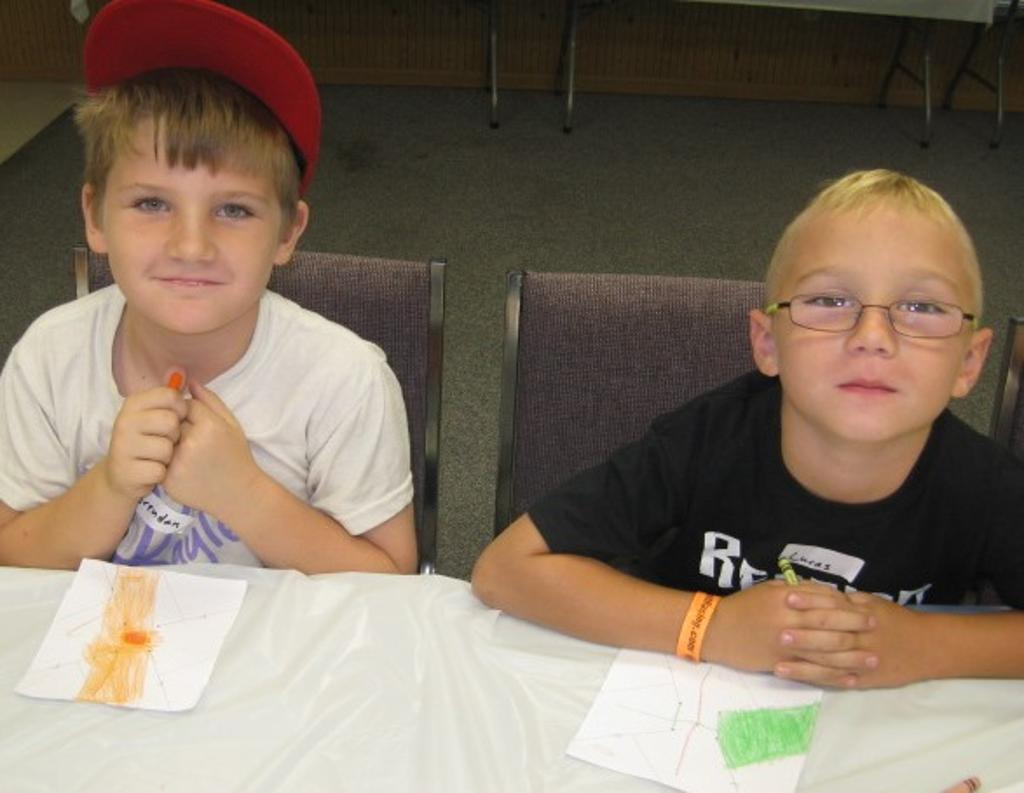 Brendan and Lucas color their pinwheels