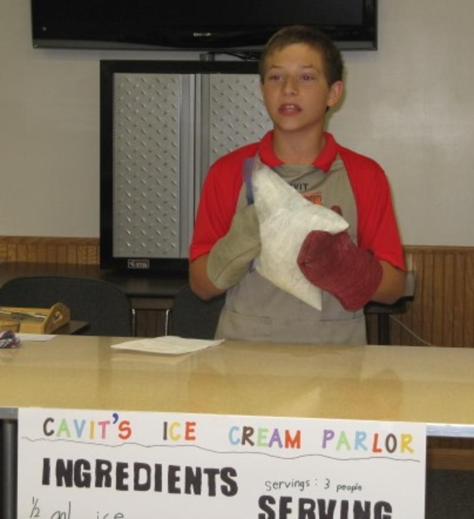 Cavit demonstrates making ice cream