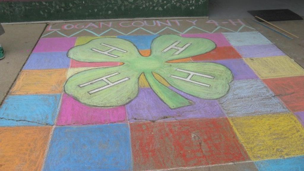 The Logan County 4-H finished chalk art square
