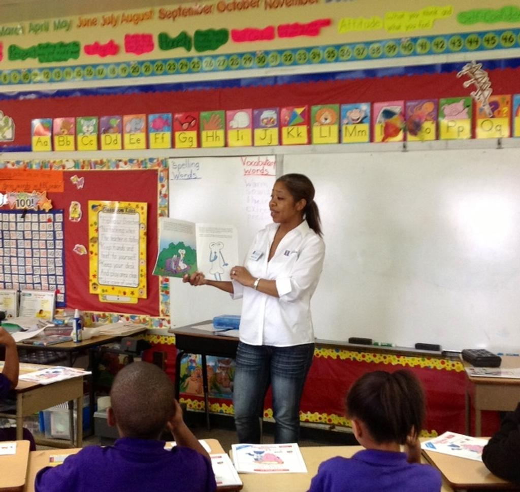 Charlotte teaching OrganWise Guys at Robertson Charter School