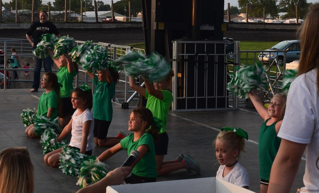 4-H Cheer on stage to kick off 4-H Night at Fair