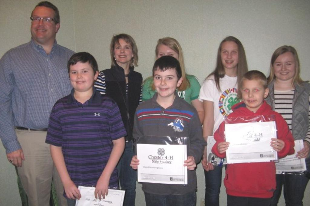 Chester 4-H club members present for recognition