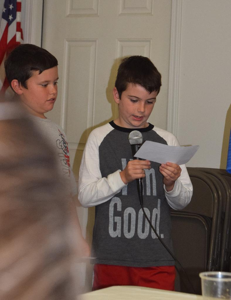 Chester 4-H members Nathan & Noah give facts about Haiti.