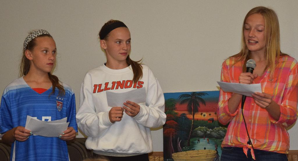 Chester 4-H members Caroline, Emily, and Abi share facts about Haiti.