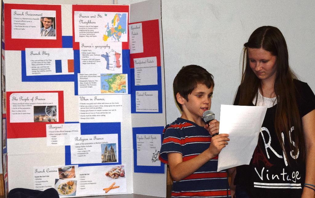 Cloverdale 4-H members Sarah & Stephen share information on France.