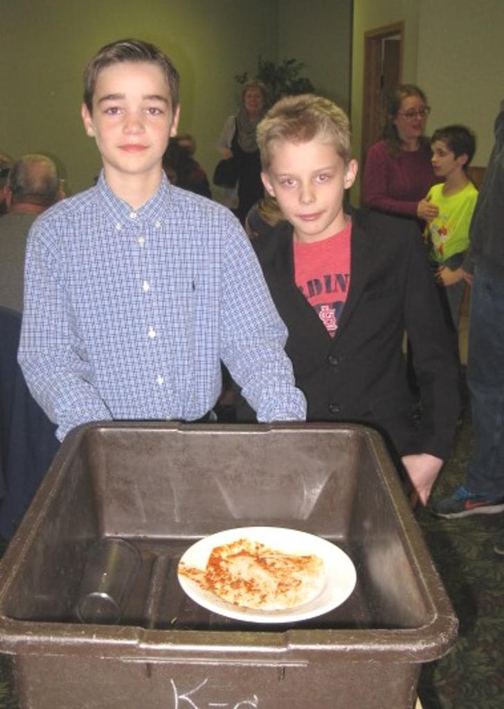 David and Kolton were two of the many 4-H members who assisted in clearing tables!