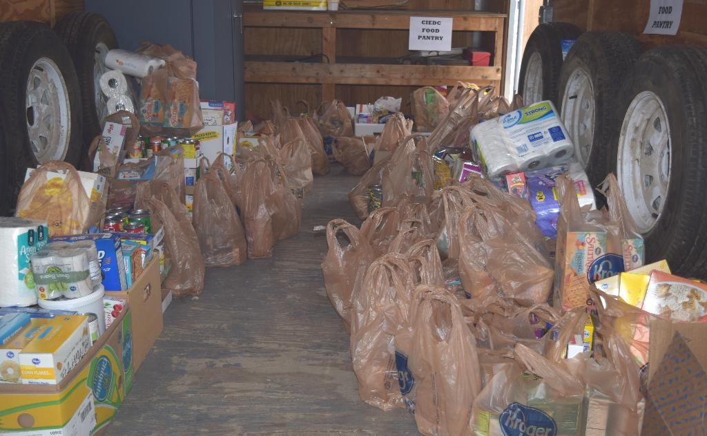 Trailer filling up with food at the Logan Food Drive!