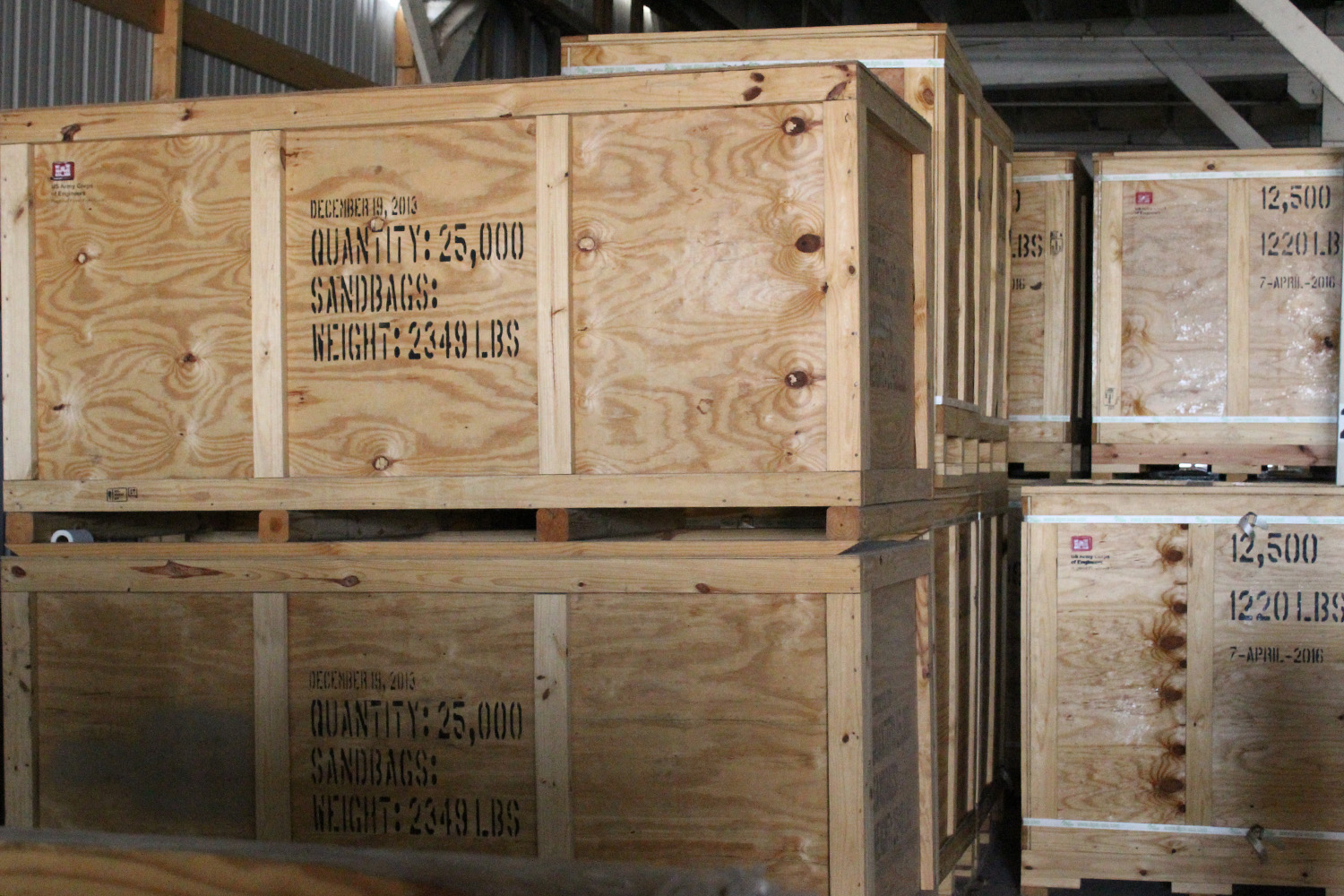 Crates of sandbags are stored at the Core of Engineers National Flood Fight Material Center warehouse.