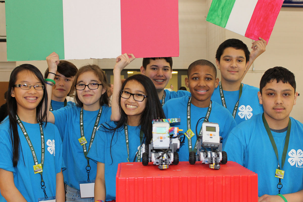 group of kids with their robotics project