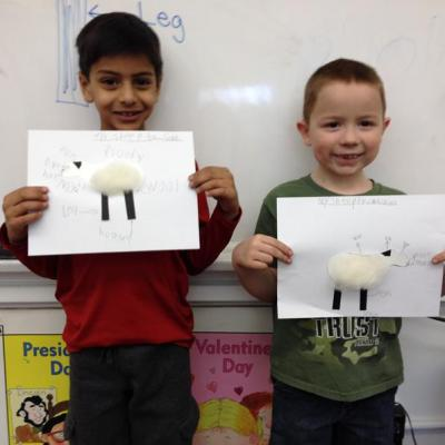 Students from Dubois Elementary in Springfield show off their sheep labeling project.