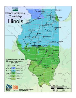 USDA Hardiness Zones 2012 for Illinois