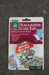 Mylar tape can be used to temporarily deter birds from a site.