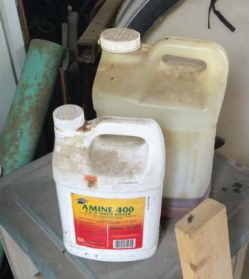 Old pesticide jugs.