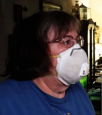 Person wearing an N95 respirator.