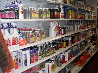 Household pesticides on store shelves.