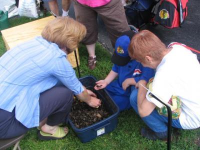 Kids touching worms