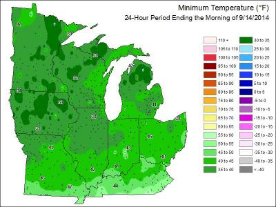 Minimum temperatures Sept 2014