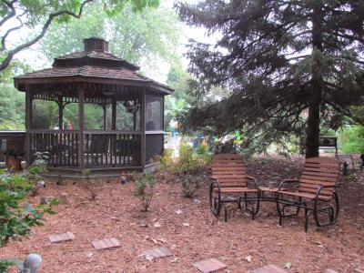 view of gazebo from shade garden on 8-3-12