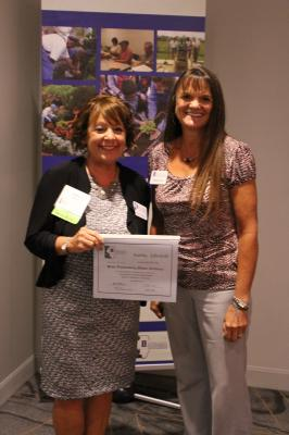 2017 State Outstanding Master Gardener Award winner Kathy Edwards with Rhonda Ferree