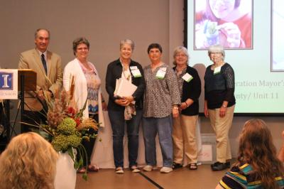 2017 University of Illinois Extension Master Gardener teamwork award for Wildlife Federation Mayor%u2019s Monarch Garden in Pekin, Illinois. Pictured are Dr. Czapar, Dr. Bissonnette, Susan McCabe, Margaret Kelly, Jennifer Bass, and Carol Cihla.