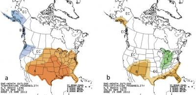 Figure 1. National Weather Service, Climactic Prediction Center's official April 2012 temperature and precipitation forecast maps: a) Temperature probability, regions that are colored orange have an enhanced probability of experiencing above normal April temperatures; b) Precipitation probability, regions that are colored green have an enhanced probability of above normal rainfall in April.