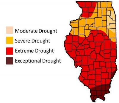 Figure. Illinois drought map from July 26th, 2012 (Source: US Drought Monitor).