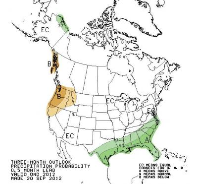 Figure 2. Map of predicted U.S. precipitation outlook for October through December 2012; areas shaded in green and labeled
