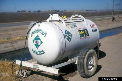 Figure. Anhydrous ammonia tank (Gerald Holmes, Valent USA Corporation, Bugwood.org).