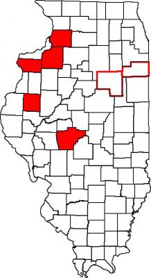 Figure. Counties shaded red have confirmed populations of Western corn rootworm that have evolved resistance to the Cry3Bb1 Bt trait. Counties highlighted in red had severe Western corn rootworm damaged first year corn in 2013 (Drs. Mike Gray and Joe Spencer).