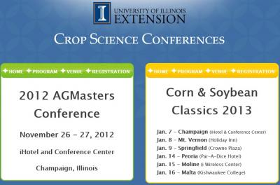 Figure. Register for the University of Illinois Department of Crop Sciences 2012 AGMasters and Corn & Soybean Classics Conferences.