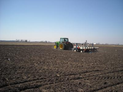 Figure. Marty Johnson planting corn, April 5, 2013 (Photo: Brian Mansfield).