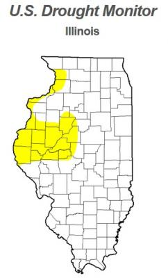 Figure. A large portion of Western Illinois is abnormally dry (Source: National drought monitor, 5.27.14).