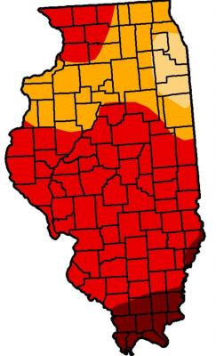 Figure. US Drought Monitor map released July 26th, 2012. Drought designations depend upon color: brick red = exceptional drought, D4; red = extreme drought, D3; orange = severe drought, D2; tan = moderate drought, D1.