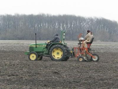 Figure. Researchers plant oats breeding lines at the Northwestern Illinois Agricultural Research & Demonstration Center (March 23).