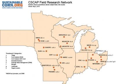 Figure. Field sites involved in the USDA-NIFA Climate and Corn-Based Cropping Systems CAP project.