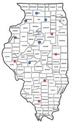 Figure. Locations for the 2012 corn hybrid testing program; Blue = Locations for which data is available, Red = data compromised by drought.