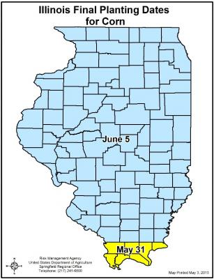 Figure. Final planting date for corn in Illinois (Image: USDA-RMA).