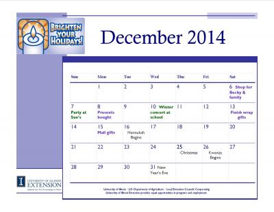 Holiday calendar 2014 with events