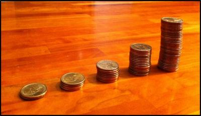 Rule of 72 with coin stack