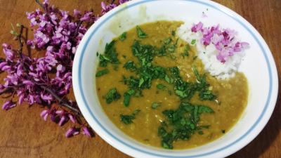 redbuds and red lentils